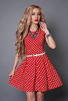 Красивое молодежное платье с поясом, 40,42,44,46,48 красное в белый горох