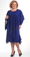 Платье летнее с накидкой Pretty-230/1 белорусский трикотаж цвета василек