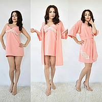 Домашний женский комплект халатик и сорочка материал  супер софт ( основа хлопок, очень приятная к телу)
