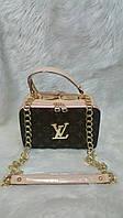 Модная сумка Louis Vuitton Луи Виттон на цепочке коричневая с бежевым