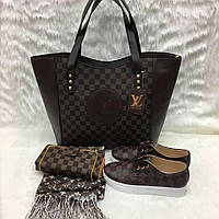 Модные наборы! Кошелек, палантин,сумка, обувь,  LV цвет:т- коричневый