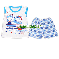 Детский летний костюм р. 80-86 для мальчика тонкий ткань КУЛИР 100% хлопок 3635 Голубой 80