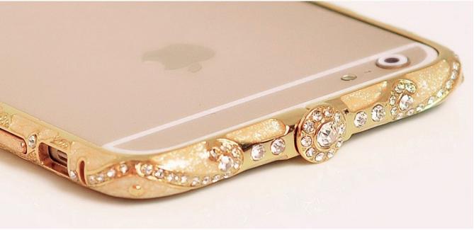 Золотой металлический бампер с камнями для iPhone 5/5s