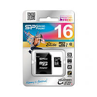Карта пам'яті MicroSDHC Silicon Power 16 GB microSDHC UHS-I Elite + SD adapter Black