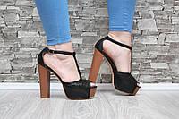 Босоножки на высоком каблуке черные с пряжкой, фото 1