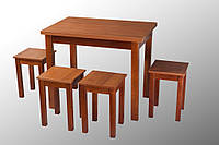 """Кухонный комплект """"LA'AU"""" раскладной стол + 4 табурета. Орех темный"""