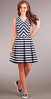 Платье Асолия-2280 белорусский трикотаж, синяя полоска , 46