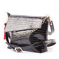 Черная молодежная крокодиловая сумочка через плечо