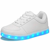 LED кроссовки Simulation Белые унисекс, 11 режимов подсветки, шнурок, размер 35-39