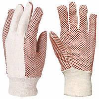 Перчатки для грузчиков,шитые, х/б с ПВХ точкой