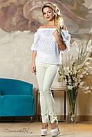 Женская летняя блузка с открытыми плечами из батиста, размеры 42-48