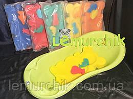 Матрасик для купания в детскую ванночку (с двумя мочалками), желтый