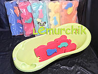 Матрасик для купания в детскую ванночку (с двумя мочалками), розовый