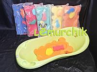 Матрасик для купания в детскую ванночку (с двумя мочалками), оранжевый