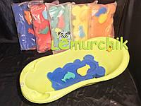 Матрасик для купания в детскую ванночку (с двумя мочалками), синий