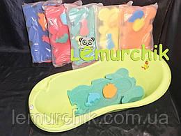 Матрасик для купания в детскую ванночку (с двумя мочалками), зеленый