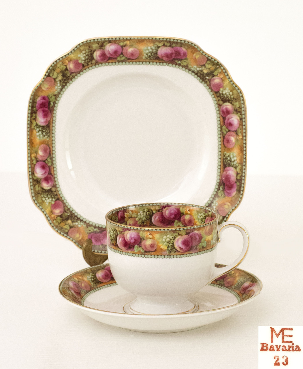 Чайная тройка, чашка, блюдце, тарелка, фарфор, Германия, Бовария