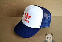 Спортивная кепка Adidas, Адидас, тракер, летняя кепка, унисекс, синего и белого цвета (копия)