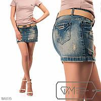 Модель №: W6035 Юбка женская джинсовая с ремнем