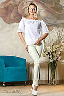 Белая летняя блузка из батиста с открытыми плечами, размеры 44-50