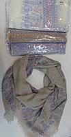 Платок из натуральной ткани синий, белый, бежевый, серый