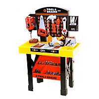 Детский набор инструментов для мальчика M 0447 U/R, столик, стойка, лоток, 35 деталей, 75см