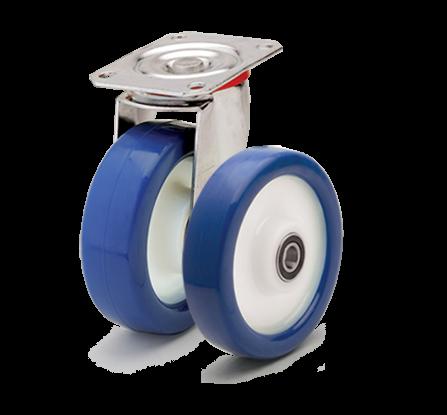 Колеса с диском из полиамида-6 и синим полиуретаном. Нагрузка 150 - 700 кг. t -20/+80С. Серия 40
