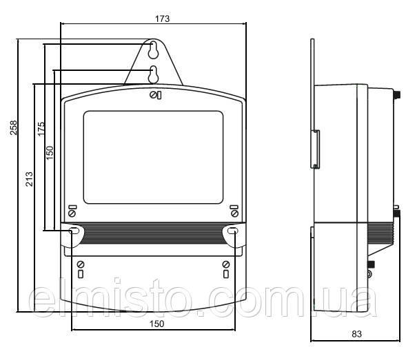 Габаритный чертеж счетчика электроэнергии НIК 2303 АП1: