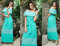 Платье в пол с открытыми плечами и вставками из прошвы 198 норма (AMBR)