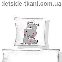 """Панель из хлопковой ткани с цифровым рисунком """"Гипопотам"""" для подушки, 40*40 см"""
