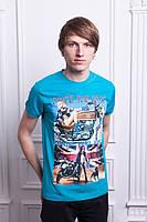 Ярко-голубая мужская футболка
