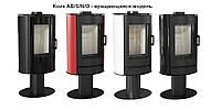 Стальная печь-камин Kratki Koza AB/S/N/O вращающаяся  с черными кафельными панелями