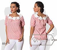 """Коттоновая блузка """"Белые цветы"""" красная полоска 8847фм"""