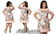 Льняное молодежное платье цветочного принта