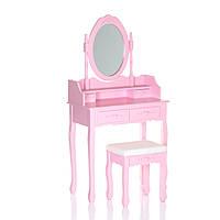 Туалетный столик с косметическим зеркалом и табуреткой Mirka Розовый