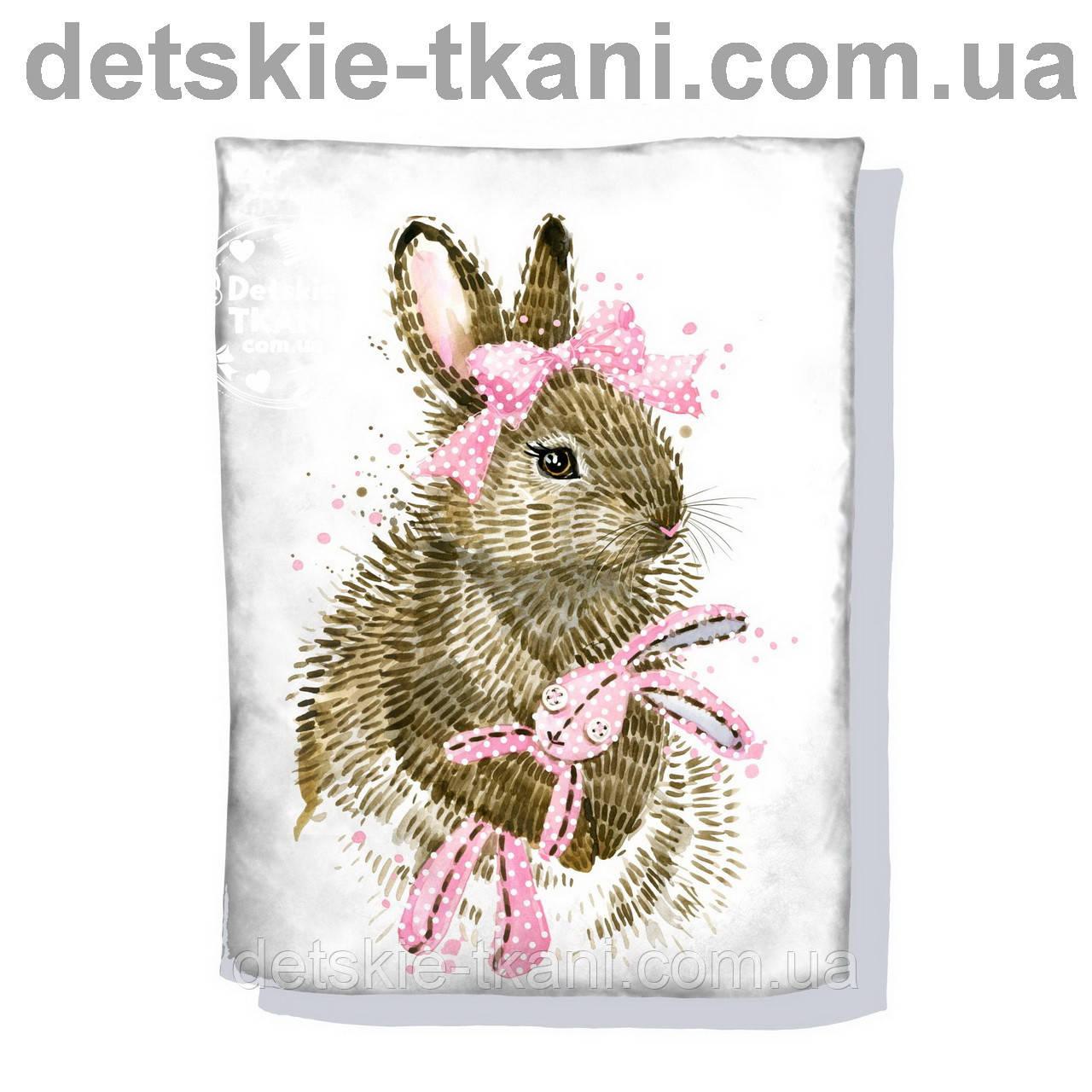"""Панельки из хлопковой ткани """"Серый зайчик с розовым бантом"""", 75*100 см"""