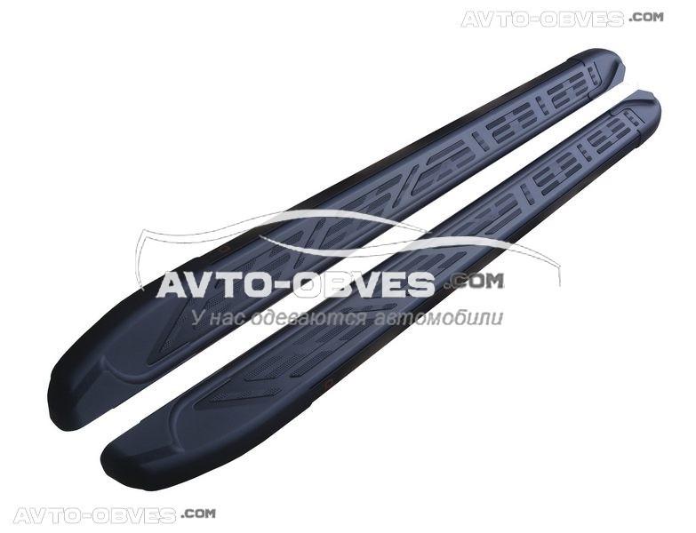 Штатные боковые подножки для Mitsubishi OutLander (стиль Audi Q7 black)