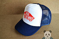Спортивная кепка Vans, Венс, тракер, летняя кепка, мужская, женская, синего и белого цвета, копия