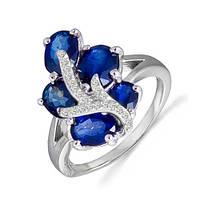 Золотое кольцо с сапфирами и бриллиантами 0,12 карат