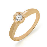 Золотое кольцо с бриллиантом 0,20 карат