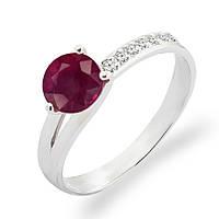 Золотое кольцо с рубином и бриллиантами 0.07 карат