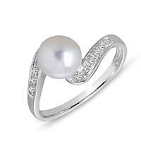 Золотое кольцо с жемчугом и бриллиантами 0,06 карат