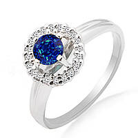 Золотое кольцо с сапфиром и бриллиантами 0,10 карат