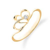 Золотое кольцо сердце с бриллиантом 0,03 карат