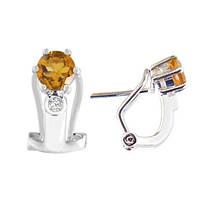 Золотые серьги с цитринами и бриллиантами 0,02 карат