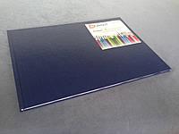 Обложка формат А3 «Лён», цвет синий