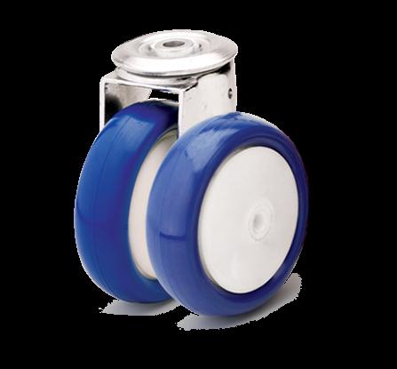 Колёса из полиамидного основания и синего полиуретана. Нагрузка 100 - 300 кг. t -20/+80С. Серия 41