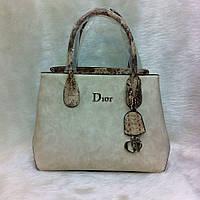 Сумка брендовая Christian Dior Диор бежевая с питоном