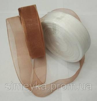 Лента органза 2,5 см светло-коричневая