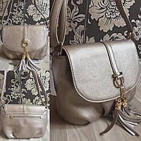 Золотистая  сумочка с кисточкой с длинным ремешком